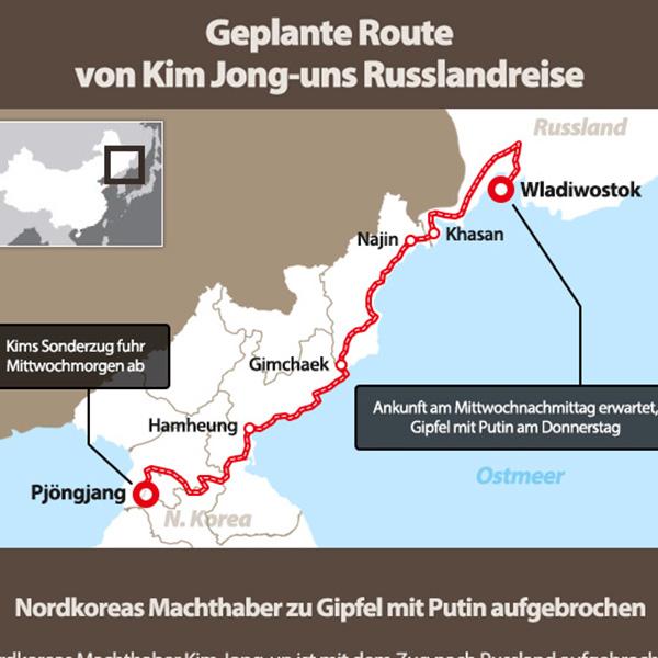 Geplante Route von Kim Jong-uns Russlandreise