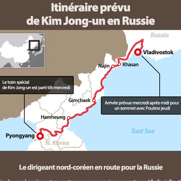 Itinéraire prévu de Kim Jong-un en Russie