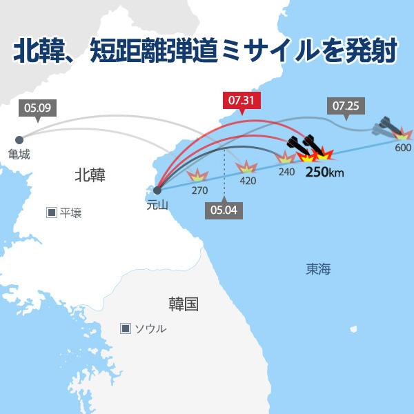 北韓、短距離弾道ミサイルを発射