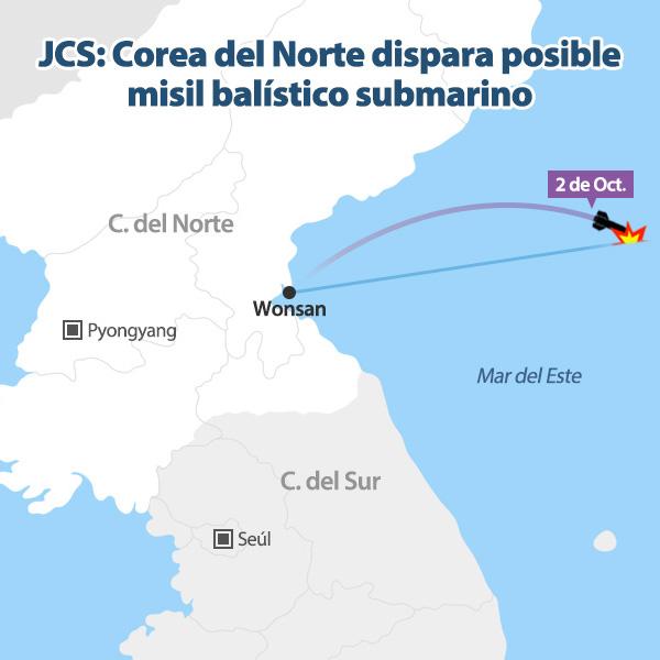 JCS: Corea del Norte dispara posible misil balístico submarino