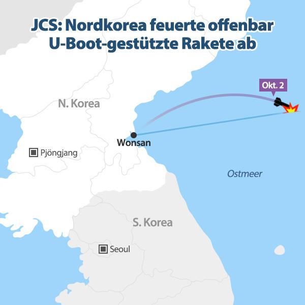 Nordkorea feuerte offenbar U-Boot-gestützte Rakete ab