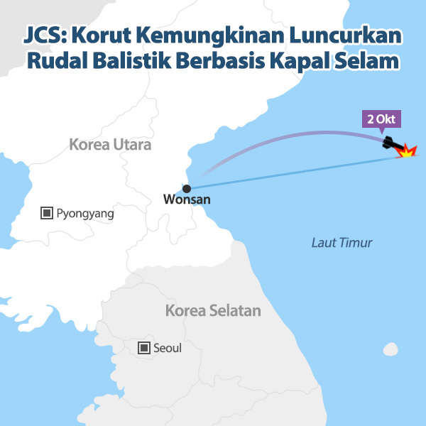 JCS: Korut Kemungkinan Luncurkan Rudal Balistik Berbasis Kapal Selam