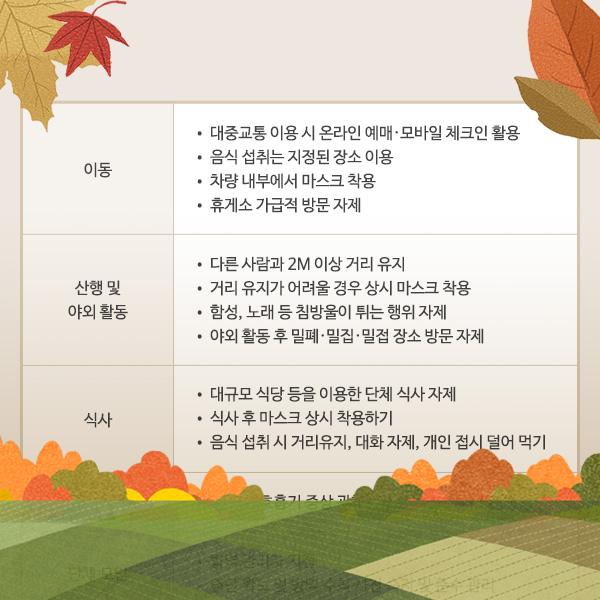 코로나19 가을철 산행 및 야외활동 방역수칙