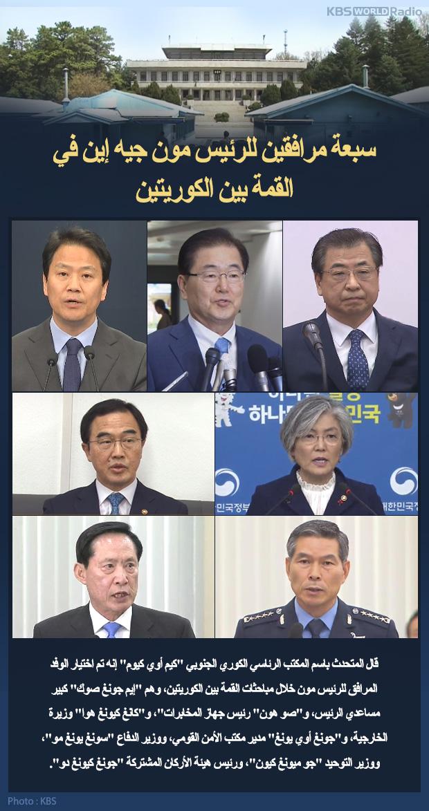 سبعة مرافقين للرئيس مون جيه إين في القمة بين الكوريتين