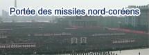 Portée des missiles nord-coréens
