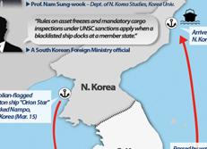 Navigation du cargo nord-coréen blacklisté Orion Star dans les eaux sud-coréennes