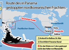 Route des in Panama gestoppten nordkoreanischen Frachters