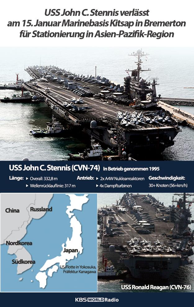 USS John C. Stennis verlässt am 15. Januar Marinebasis Kitsap in Bremerton für Stationierung in Asien-Pazifik-Region