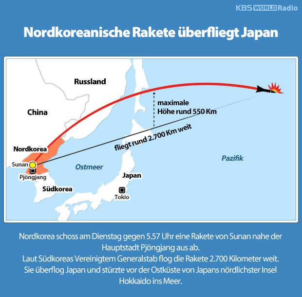 Nordkoreanische Rakete überfliegt Japan