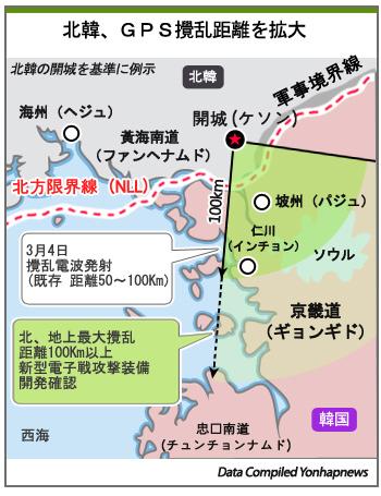 北韓、GPS攪乱距離を拡大
