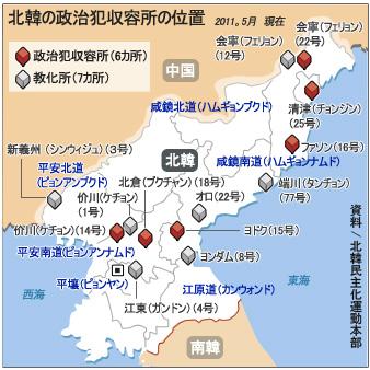 北韓の政治犯収容所の位置