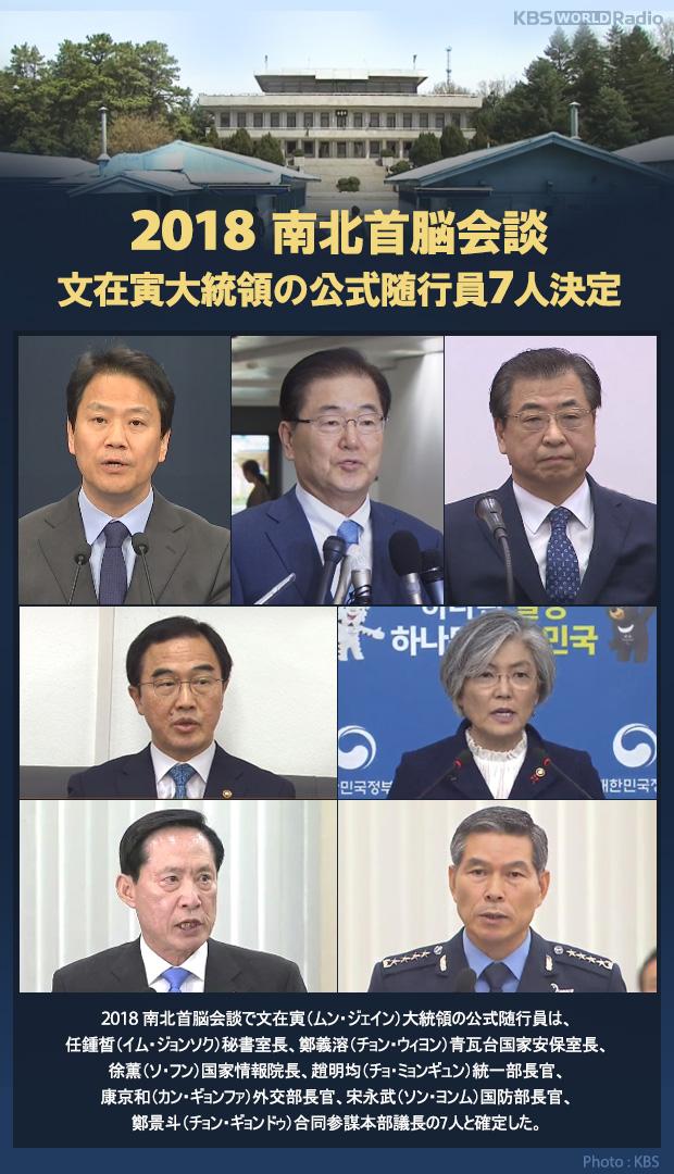 2018 南北首脳会談 文在寅大統領の公式随行員7人決定
