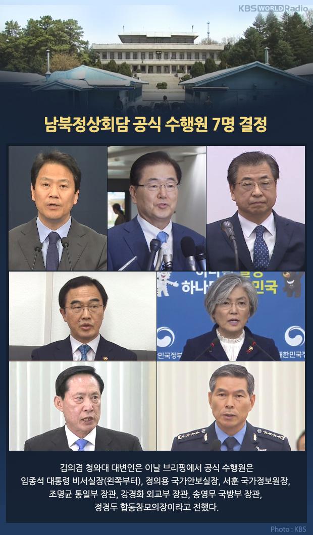 남북정상회담 문재인대통령 공식 수행원 7인