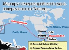 Маршрут северокорейского судна, задержанного в Панаме