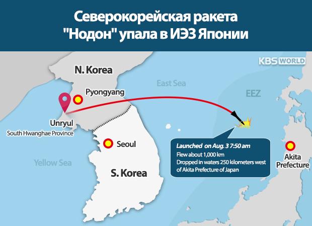 """Северокорейская ракета """"Нодон"""" упала в ИЭЗ Японии"""