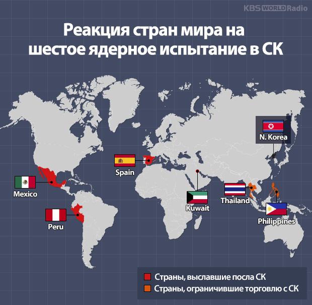 Реакция стран мира на шестое ядерное испытание в СК