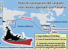 Ruta de navegación del carguero norcoreano apresado por Panamá