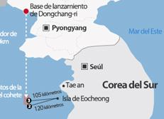 Restos del cohete de largo alcance de Corea del Norte