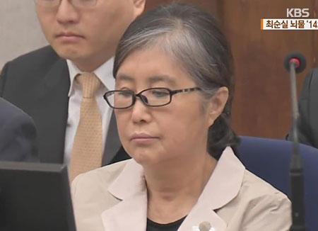 Choi Soon-sil condamnée en première instance à 20 ans de prison