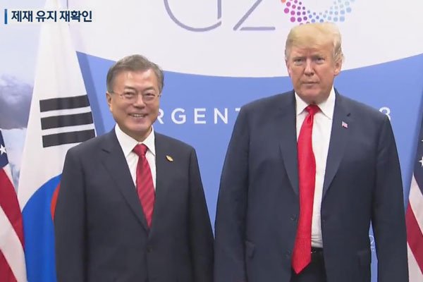 Moon and Trump agree to continue sanctions until denuclearization