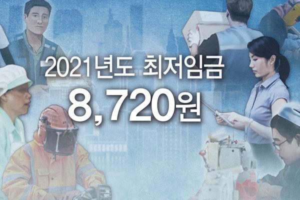 МРОТ в 2021 году определён на уровне 8.720 вон