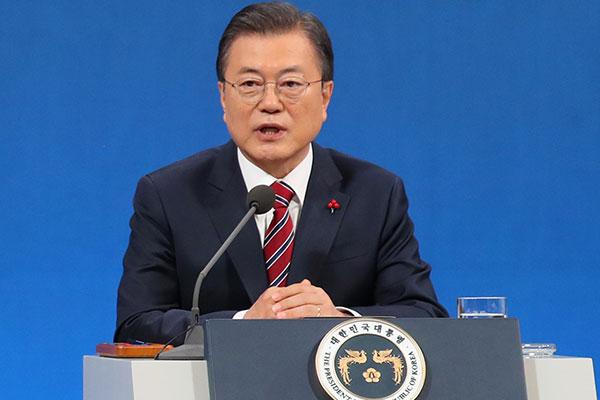 Präsident Moon Jae-in gibt Neujahrespressekonferenz