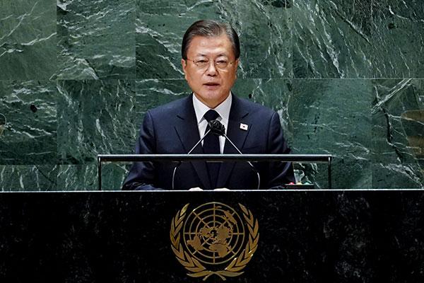 Präsident Moon schlägt in Rede vor UN Erklärung des Kriegsendes vor