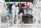 Kids Amused by Water Fountain