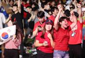 勝利に歓喜する韓国応援団