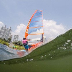 Windsurfing under Blazing Sun