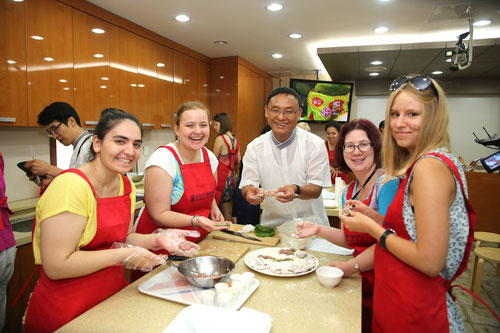 Russian Students Making Korean Cuisine