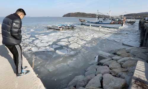 厳しい寒さに海も凍った!