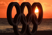 Olympic Emblem and Sunrise