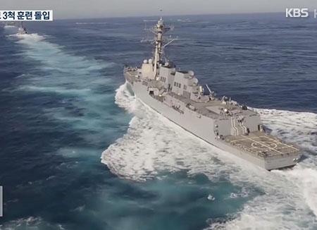 美三艘航母在韩国东海作战区域展开高强度联合军演