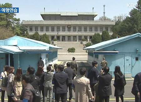 南北韩在板门店进行首脑会谈排练