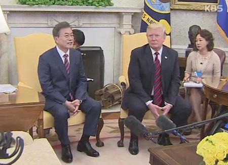 韩美元首商定尽最大努力促成美北首脑会谈