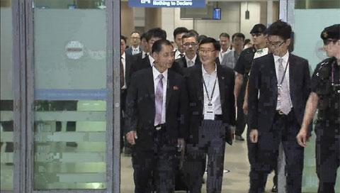 Nordkoreanische Delegation für Gruppenauslosung für Asienspiele in Incheon eingetroffen