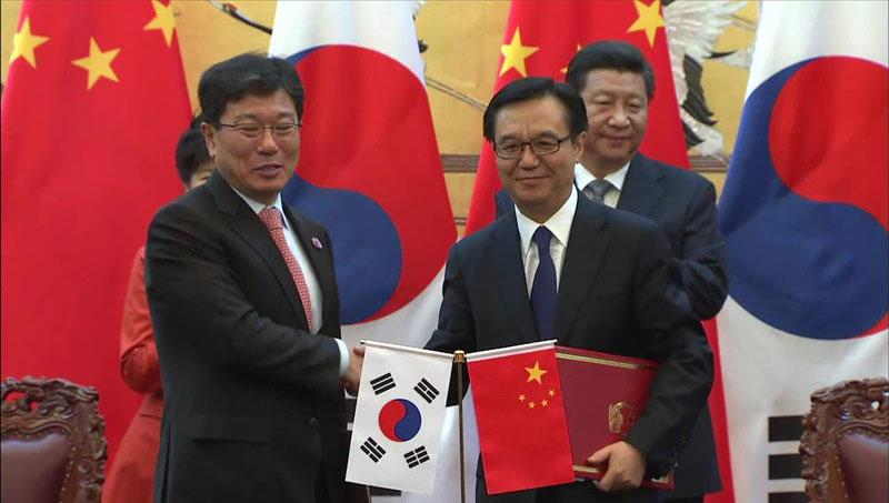 韓国と中国 FTAに仮署名