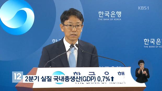 韓国の第2四半期GDP 前期比0.7%増
