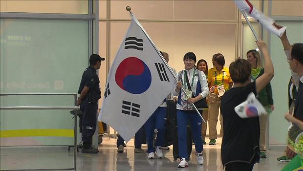La delegación olímpica de Corea del Sur llega a Río de Janeiro