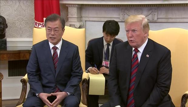 韩美首脑商定紧密合作力促韩半岛无核化