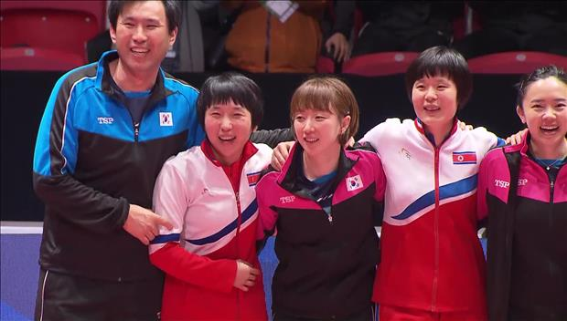 فريق كرة الطاولة الكوري الشمالي يصل إلى كوريا الجنوبية