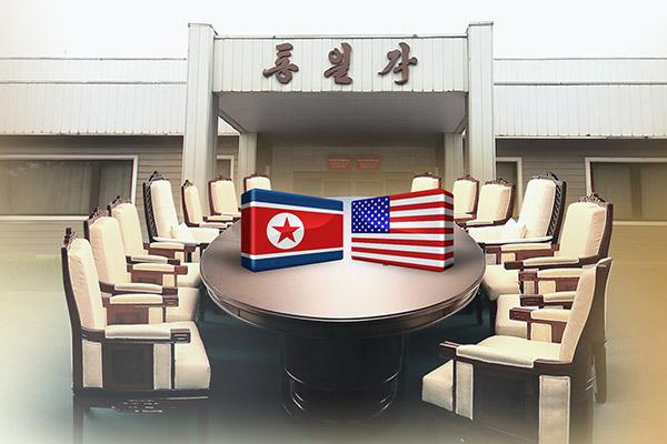 美国和北韩在板门店进行工作接触