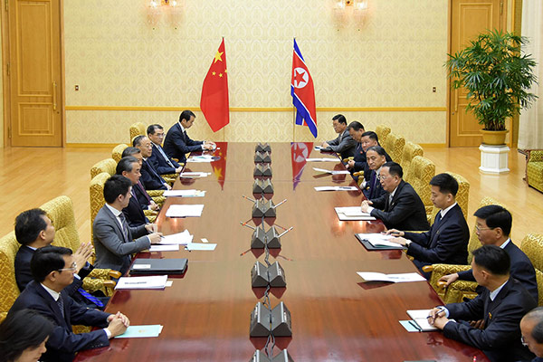 북한을 찾은 중국 왕이 외교부장의 행보