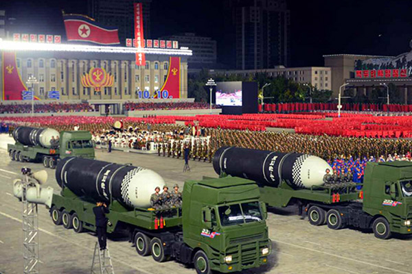 N. Korea Unveils New Weapons at Massive Military Parade