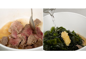 Stir-fry beef pieces in a pot with 2 tbsp of water. When 2/3 of the meat is cooked, add moistened seaweed slices and minced garlic. Simmer for about 20 minutes over medium high gas.