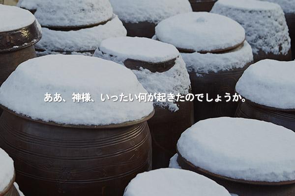 金昭晋(キム・ソジン)の短編小説「雪だるまの中の黒い瓶(かめ)」
