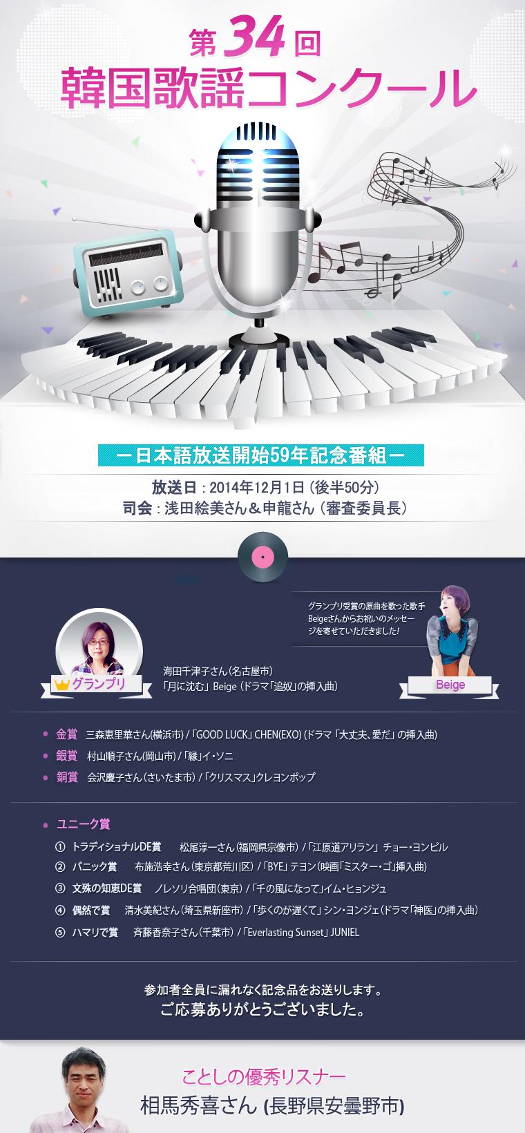 第34回韓国歌謡コンクール information file