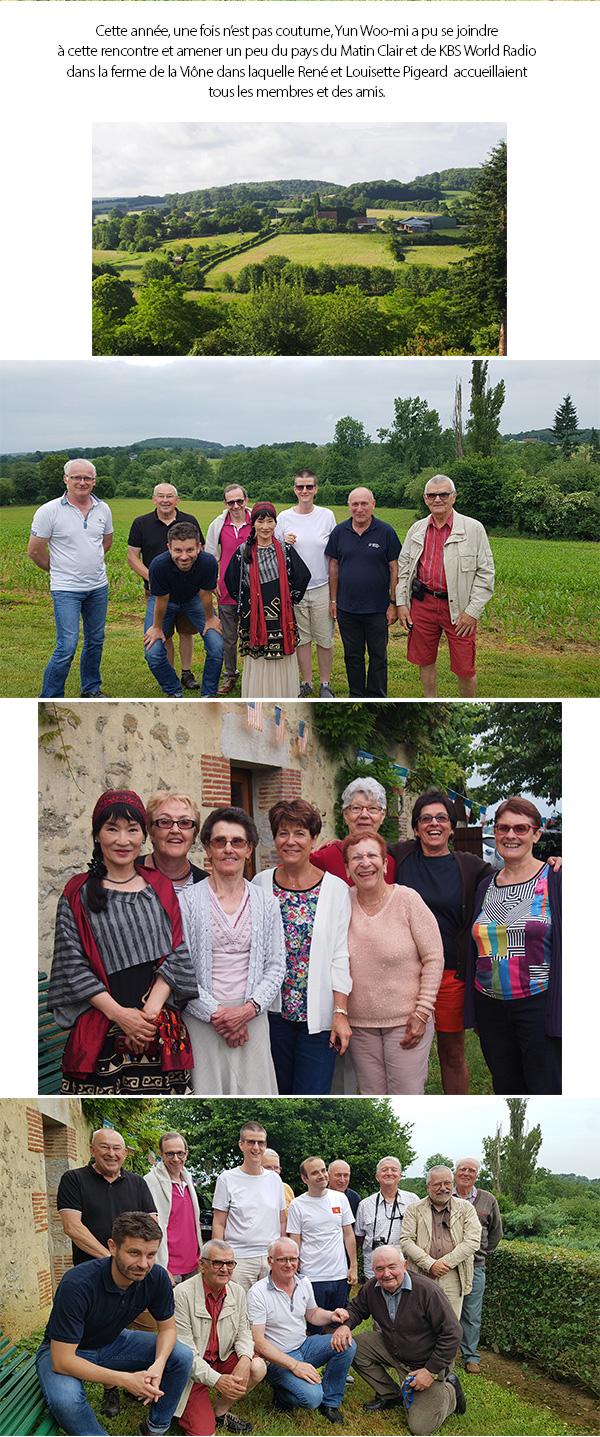 Cette année, une fois n'est pas coutume, Yun Woo-mi a pu se joindre à cette rencontre et amener un peu du pays du Matin Clair et de KBS World Radio dans la ferme de la Viône dans laquelle René et Louisette Pigeard  accueillaient tous les membres et des amis.