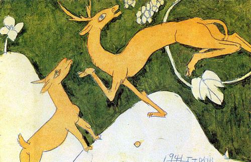 두마리의 사슴